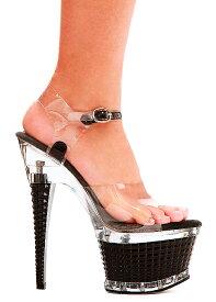 送料無料 Ellie Shoes エリーシューズ/格子状デザインの厚底ハイヒールサンダル/クリアと黒の2トーン/ヒール高約17cm(649-DIAMANTE-CLR-BLK)