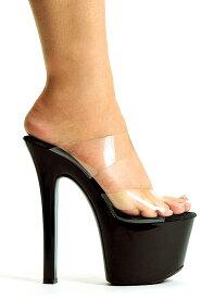送料無料 Ellie Shoes エリーシューズ/ダブルストラップ付き/プラットフォームミュール/クリア素材/ヒール高約16.5cm(711-COCO-CLR-BLK)