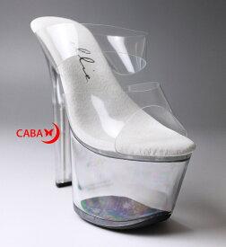 送料無料 Ellie Shoes エリーシューズ/ダブルストラップ付き/プラットフォームミュール/クリア素材/ヒール高約16.5cm(711-COCO-CLR)