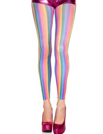 Music Legs レインボーカラーの縦ストライプのレギンス/スパッツ ダンス 衣装 ヒップホップ (35820)