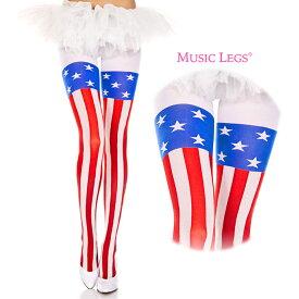 Music Legs 柄 パンスト(パンティストッキング ホーザリー シアータイツ ストッキング) 色はアメリカ国旗柄(星条旗 ストライプ模様) レディース用 イベント(コスプレ コスチューム 衣装 撮影) インナー 下着 ナイトウエア 靴下 レッグウエア