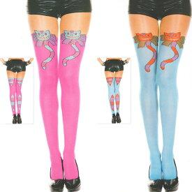 Music Legs 可愛い猫柄(キャット) タイツ (レディース オペイク) パンスト パンティストッキング パンティーストッキング コスプレ 衣装 色は ネオンピンク ターコイズ ML-7157