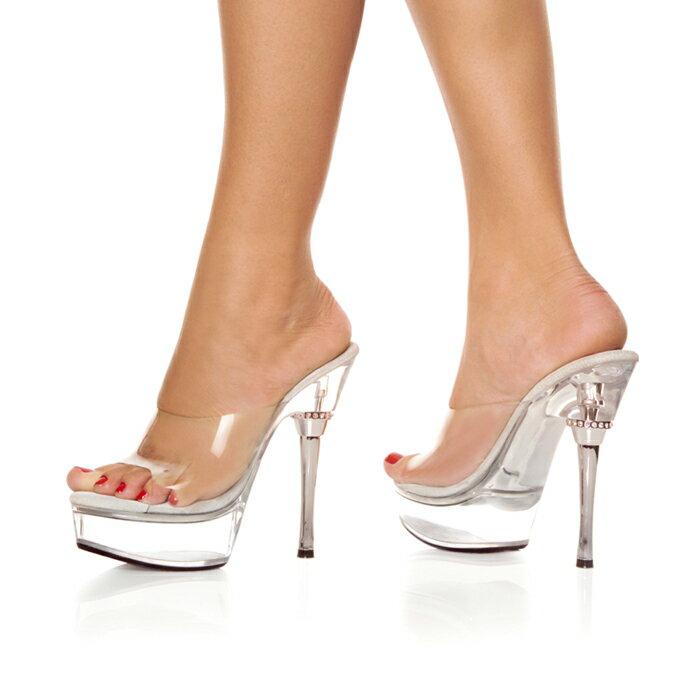 送料無料 Pleaser(プリーザー)のクリア色の厚底ミュールサンダル ラインストーン付きのメタルヒール パーティー用レディース靴 ALLURE-601-CLR-CLR(ALL601/C/M)