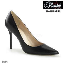【20%OFFクーポン配布中】送料無料 Pleaser(プリーザー) ポインテッドトゥパンプス (レディース 靴) 色は黒 とんがりパンプス ハイヒール ピンヒール オフィス 通勤 結婚式に 大きいサイズもあります 靴 レディース靴 パンプス ◆CLASSIQUE-20-BLKPU