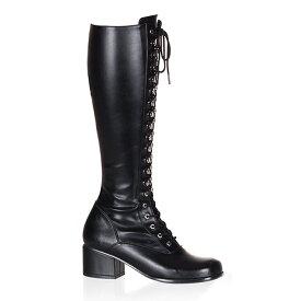 送料無料 Pleaser(プリーザー)ひざ丈のロングブーツ/フロントレースアップ/つや消し黒/ヒール高約5cm(RETRO-302-BLKPU)