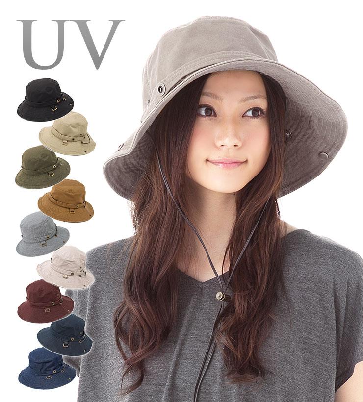 帽子 レディース つば広 UV 紫外線対策 サファリハット ( UVカット )「オシャレ度アップ!キュートなシルエットに改良!ひも付き2WAYモデル」 カブロカムリエ | CabloCamurie | メール便・送料無料 【UNI】【MB】