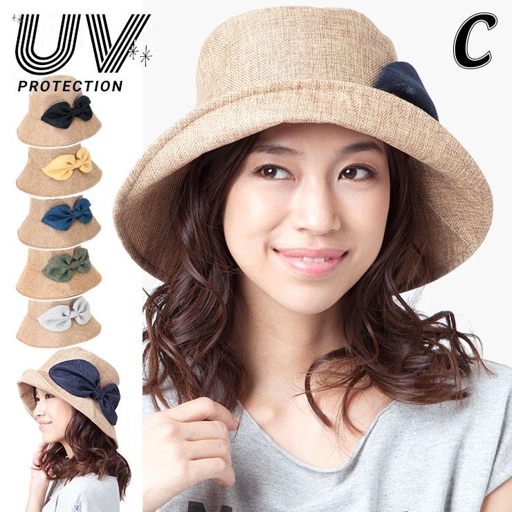 【 TIME SALE 】 カブロカムリエ UVハット POSHIリボン レディース 帽子 春夏 ぷっくりリボンが可愛い 麦わら帽子 全6色 フリーサイズ | CabloCamurie 【専用あごひも対応】【MB】