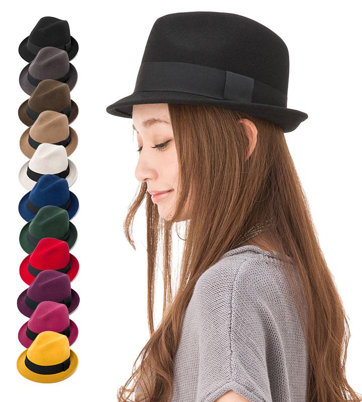 帽子 レディース 中折れ フェルト帽 楽天ランク1位!選べるカラフル11色★ シッカリ帽子なのに驚きプライス!サイズ調整できる シンプルな 中折れ フェルトハット BASIX FEDORA カブロカムリエ 送料無料