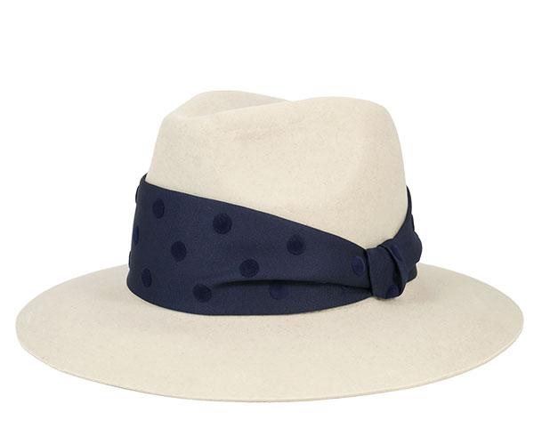 帽子 レディース フェヌア ドットリボン 中折れツバ広ハット グレージュ(リボン:ネイビー) 日本製 送料無料