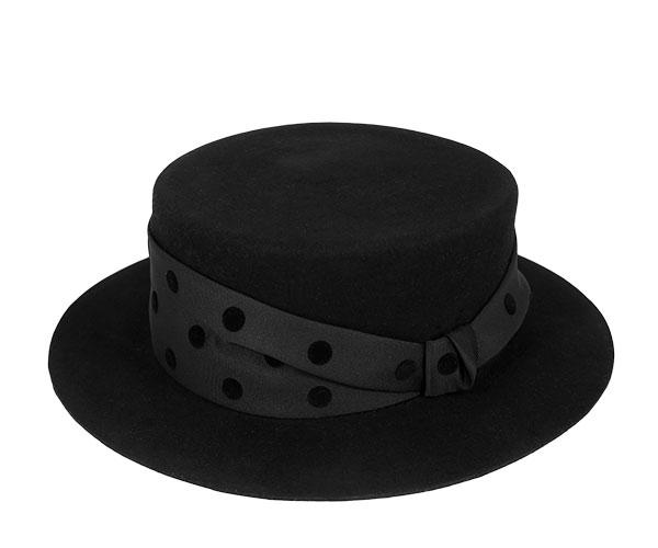 帽子 レディース フェルト ハット ドットリボン カンカン帽 ポークパイハット ブラック 日本製 フェヌア FENUA 送料無料