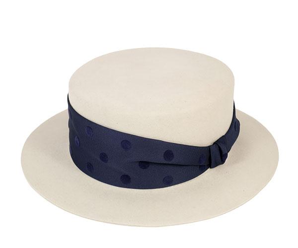 帽子 レディース フェルト ハット ドットリボン カンカン帽 ポークパイハット グレージュ 日本製 フェヌア FENUA 送料無料