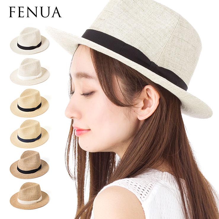 帽子 レディース 麦わら帽子 中折れ ハット つば広 日本製 フェヌア PESHI FENUA 送料無料