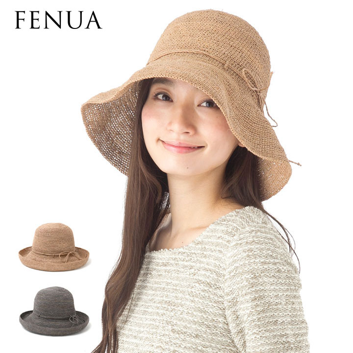 帽子 レディース 麦わら帽子 つば広 フェヌア HERA ラフィア ストローハット クロッシェ 送料無料