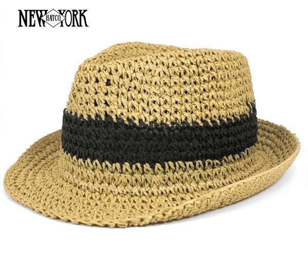 帽子 中折れ 麦わら帽子 シンプルデザイン フェドラ ストローハット クロシェ ニューヨークハット NEW YORK HAT
