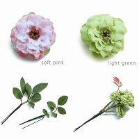 小さいバラの髪飾り【Uピン付】【全5色】【ソフトピンク・ソフトイエロー・モーブ・ライトグリーン・ベージュ】
