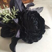 ブラックコサージュ【ケース付】【グレーの葉】【フォーマルに黒いコサージュを身に着ける】【色っぽく黒を纏う】アンティークな彩【花嫁さんのヘッドドレス】【定形外郵便なら送料無料】【母の日のギフトに】