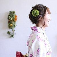 小さいダリアの髪飾り【くすんだ緑】【ヘアピン付】