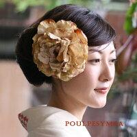 芍薬【ベージュ】成人式・結婚式・人気!和装洋髪に使えるヘアアクセサリー♪着物と相性のよいコサージュ