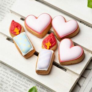 ケーキデコレーション用 【ハート&ろうそく(5個入り)A】アイシングクッキー クッキー デコレーションケーキ オリジナルケーキ かわいい お菓子
