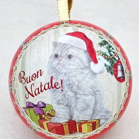 【カファレル caffarel】オーナメント・ガッティーノ★クリスマスのギフトやプレゼントに人気★クリスマスツリー イタリア チョコレートブランド かわいいねこの缶