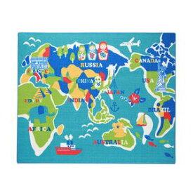 ★ポイントUp4.5倍★デスクカーペット 男の子 世界地図柄 『ワールド』 ブルー 110×133cm【代引不可】 [13]
