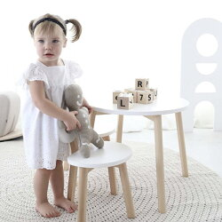 天然木キッズデスクキッズテーブルミニテーブルハンドメイドこどもテーブルホワイト白木製北欧ナチュラルシンプルインテリアoohnooHalf-MoonTable