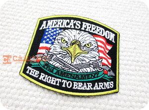 AMERICA'S FREEDOM/鳥/バード/鷲/ワシ/軍/動物/ミリタリー/腕章/アメリカ/星条旗/エンブレム/ハンドメイド/刺繍ワッペン/アイロン接着/リメイク/デコ/アップリケ/CaJu+NiC[カジュニック]【ワッペン