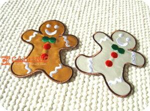 ジンジャーブレッドマン全2色/クッキー坊や/USA/アメリカ/レトロ/クリスマス/お菓子/スイーツ/スウィーツ/入園/入学/かわいい/ハンドメイド/雑貨/刺繍ワッペン/アイロン接着/リメイク/デコ/ア