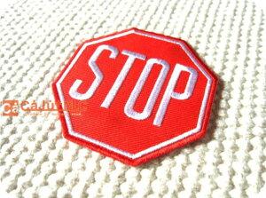 STOP八角形/アメカジ/アメリカン/標識/海外/自動車/バイク/バス/ロック/バイク/USA/文字/ロゴ/入園/入学/ハンドメイド/雑貨/刺繍ワッペン/アイロン接着/リメイク/デコ/アップリケ/CaJu+NiC[カジュ