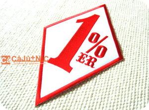 1%ER.WH×RD1%大判BIG/背中/標識/海外/自動車/バイク/ロック/バイク/バイカー/ロゴ/アメリカン/入園/入学/ハンドメイド/雑貨/刺繍ワッペン/アイロン接着/リメイク/デコ/アップリケ/CaJu+NiC[カジュ