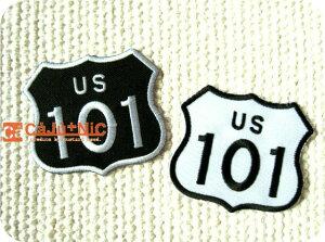 U.S.Route101全2色/標識/海外/自動車/ロック/バイク/バイカー/ロゴ/アメリカン/入園/入学/ハンドメイド/雑貨/刺繍ワッペン/アイロン接着/リメイク/デコ/アップリケ/CaJu+NiC[カジュニック]【ワッペ