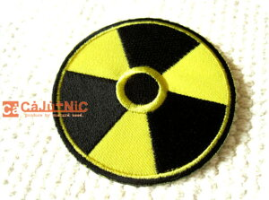 三葉マーク(L)/放射能標識/放射線/原発/USA/アメリカン/アメカジ/海外/ロック/パンク/かっこいい/大人/ハンドメイド/雑貨/刺繍ワッペン/アイロン接着/リメイク/デコ/アップリケ/CaJu+NiC[カジュ