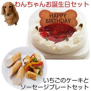 わんちゃんお誕生日ディナーセット コミフ いちごケーキとソーセージプレートセット 送料無料(※一部地域除く)