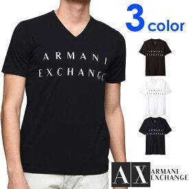 ARMANI EXCHANGE アルマーニ エクスチェンジ メンズ Vネック 半袖 Tシャツ ホワイト ブラック ネイビー S M L XL おしゃれ ブランド 大きいサイズ 【あす楽】 [8nztcmz8h4z]