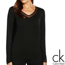 Calvin Klein カルバンクライン レディース スリープウエア マイクロモーダル Vネック メッシュ ネックライン 長袖 tシャツ ブラック インナー パジャマ CK M L XL おしゃれ ブランド 大きいサイズ 【あす楽】[qs5306e]