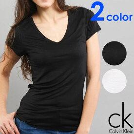 Calvin Klein カルバンクライン レディース スリープウエア マイクロモーダル Vネック 半袖 tシャツ ブラック ホワイト インナー CK XS S M L おしゃれ ブランド 大きいサイズ 【あす楽】[qs5490e]