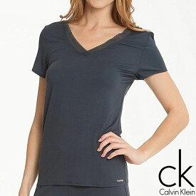 Calvin Klein カルバンクライン レディース スリープウエア マイクロモーダル vネック 半袖 メッシュ ネックライン tシャツ ネイビー インナー パジャマ CK M L XL おしゃれ ブランド 大きいサイズ 【あす楽】[s2633e]
