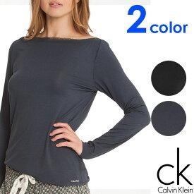 Calvin Klein カルバンクライン レディース スリープウエア マイクロモーダル ボードネック 長袖 tシャツ メッシュ ネックライン ブラック ネイビー インナー パジャマ CK L XL おしゃれ ブランド 大きいサイズ 【あす楽】[s2634e]