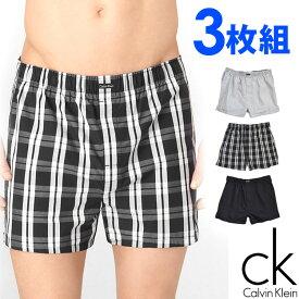 Calvin Klein カルバンクライン メンズ トランクス 3枚セット ブラック チェック ストライプ CK ボクサーパンツ S M L XL おしゃれ ブランド 大きいサイズ 【あす楽】 [u1732002]