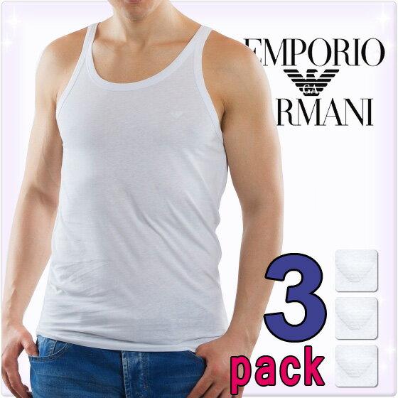 EMPORIO ARMANI エンポリオアルマーニ メンズ タンクトップ 3枚パック ホワイト[白 下着 肌着 アンダーウエア アルマーニ 下着 ルームウェア タンクトップ 無地 ブランド トップス][110822-CC712]大きいサイズ[送料無料]ブランド
