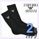 EMPORIO ARMANI[エンポリオアルマーニ]メンズ 靴下 コットン リブ ハイソックス 黒 2足セット[24cm-30cm]2足組靴下 靴下 ビジネスソ...