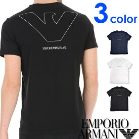 """EMPORIO ARMANI エンポリオアルマーニ メンズ Vネック ルーズフィット ロゴ プリント 半袖 Tシャツ """"PURE ORGANIC COTTON"""" イーグルマーク ネイビー ホワイト ブラック おしゃれ ブランド 大きいサイズ [あす楽][1110280p578]"""