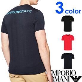 """EMPORIO ARMANI エンポリオアルマーニ メンズ Vネック レギュラーフィット ロゴ バックプリント 半袖 Tシャツ """"3D LOGO"""" イーグルマーク ブラック ネイビー レッド おしゃれ ブランド 大きいサイズ [あす楽][1115560p525]"""