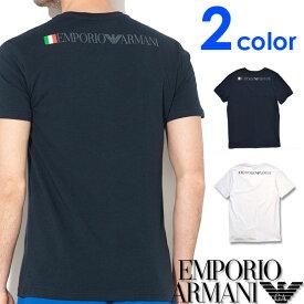 EMPORIO ARMANI エンポリオアルマーニ メンズ Vネック スリムフィット ロゴ 半袖 Tシャツ イーグルマーク ホワイト ネイビー S M L XL おしゃれ ブランド 大きいサイズ [あす楽][1117679p510]