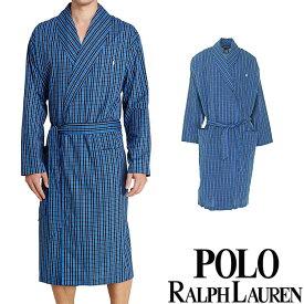 POLO RALPH LAUREN ポロ ラルフローレン コットン バスローブ メンズ チェック[青 ブルー 水色 チェック柄 ギンガムチェック][S/M/L/XL][ポロ・ラルフローレン ラルフローレン ナイトガウン 部屋着 ナイトウエア リラックスウエア]大きいサイズ ブランド[R171-NQ]
