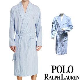 POLO RALPH LAUREN ポロ ラルフローレン コットン バスローブ メンズ ストライプ[青 ブルー 水色 しま ボーダー][S/M/L/XL][ポロ・ラルフローレン ラルフローレン ナイトガウン 部屋着 ナイトウエア リラックスウエア][送料無料]大きいサイズ ブランド[R171-CV]