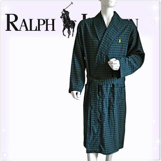 POLO RALPH LAUREN ポロ ラルフローレン コットン バスローブ メンズ ポロプレイヤー タータンチェック[紺 緑][S/M、L/XL][ポロ・ラルフローレン ラルフローレン ナイトガウン 部屋着 ナイトウエア リラックスウエア][送料無料][P001HR]大きいサイズ ブランド