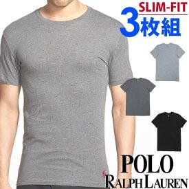 POLO RALPH LAUREN ポロ ラルフローレン メンズ スリムフィット コットン クルーネック 半袖 Tシャツ 3枚セット ブラック ダークグレー ライトグレー polo ロゴ S M L XL おしゃれ ブランド 大きいサイズ【あす楽】[RSCNP3/LSCN/p6459od]