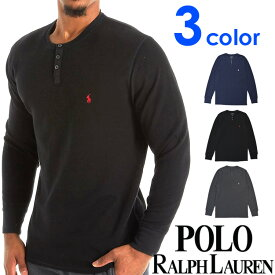 POLO RALPH LAUREN ポロ ラルフローレン メンズ ヘンリーネック 長袖 Tシャツ グレー ネイビー ブラック ビッグポニー サーマル ロンT S M L XL XXL おしゃれ ブランド 大きいサイズ【あす楽】 [pwlhrl]