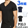 POLORALPHLAURENポロラルフローレンメンズクラシックコットンVネック半袖Tシャツ3枚セット[黒/白/紺][S/M/L/XL][ポロ・ラルフローレンラルフローレンtシャツ下着肌着アンダーウエアインナー][5,400円以上で送料無料]大きいサイズブランド